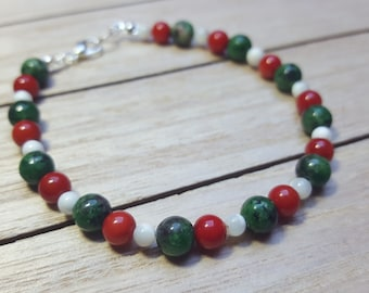 Zoisite, coral and mother of pearl bead bracelet