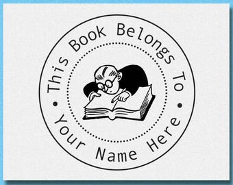 Custom THIS BOOK BELONGS Stamp, Book Stamp, Stationary Stamp, Custom Library Stamp, School Teacher Book Stamp