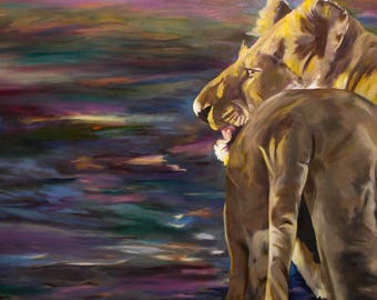 Lioness - Original Oil Painting Prints