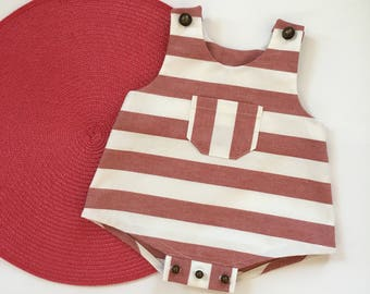 Romper in white and red - striped cotton newborn / premature baby - birthday gift