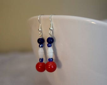 Patriotic Red White ans Blue earrings