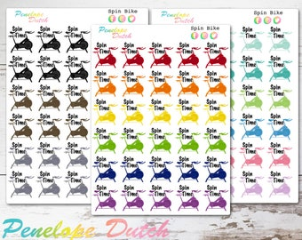 """Spin Bike Exercise Planner Stickers with Text """"Spin Time"""""""