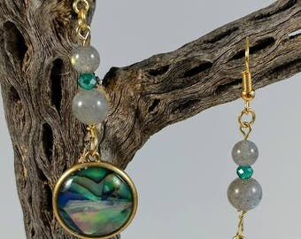 Abalone Earrings with Labradorite Beads