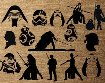Star Wars New Trilogy 15 pk PNG Silhouettes for Decals Cricut (Digital Download)
