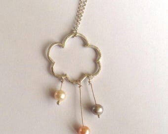 Cloud Pendant with Pearls - Rain Cloud Necklace - Pink Grey and Ivory Pearls with Sterling Silver