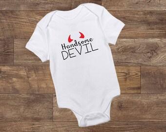 Handsome Devil - Bodysuit - Baby Boy - Halloween - Boy Halloween - Baby - Custom Made