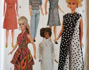 Vogue Craft Barbie Doll Pattern 7730 with 6 Vintage 1960s 70s Retro Outfits Uncut