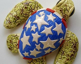 Stars and Stripes Turtle Sculpture
