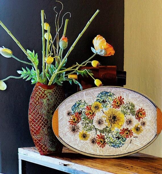 Decoupage flower art serving tray, rustic contemporary home decor, galvanized metal