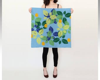 Forest floor silk scarf (blue)
