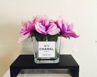 Custom glass vase, Chanel vase!