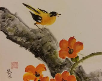 Goldfinch with cotton flowers