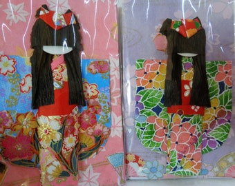 VJ737:Oshie Kurumie Paper Doll,Washi/Origami Paper Craft  Art Doll,Creative Inspiration Folk Art,Packed,hand made in Japan,price per 1 piece
