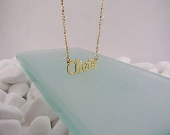 Olivia name necklace, silver 925, gold plated