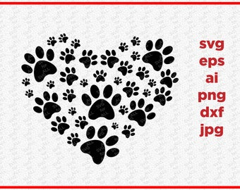 Paw Svg, Pet Love Svg, Cutting File, Pet DXF, Animal Love SVG, Dog Svg, Cricut Digital File, Cuttable Design, Silhouette DXF, Cricut files