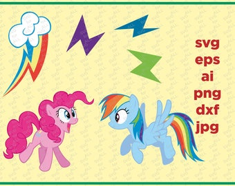 Rainbow dash SVG, My Little Pony SVG, Pinky pie SVG, My Little Pony Decoration, files for cricut & silhouette, Dxf files, Unicorn Svg