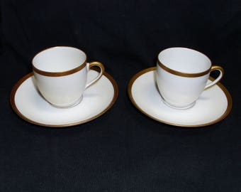 Two small cups with saucers, C A Limoges Ahrenfeldt Gold Band on White