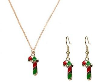 Candy Cane Jewelry set, Christmas Jewelry, Christmas earrings.