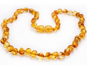 Genuine Baltic Amber Baby Teething Necklace Honey