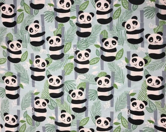 panda flannel, pandas and bamboo, flannel fabric . Nursey,crib bedding fabric, quilting, cotton