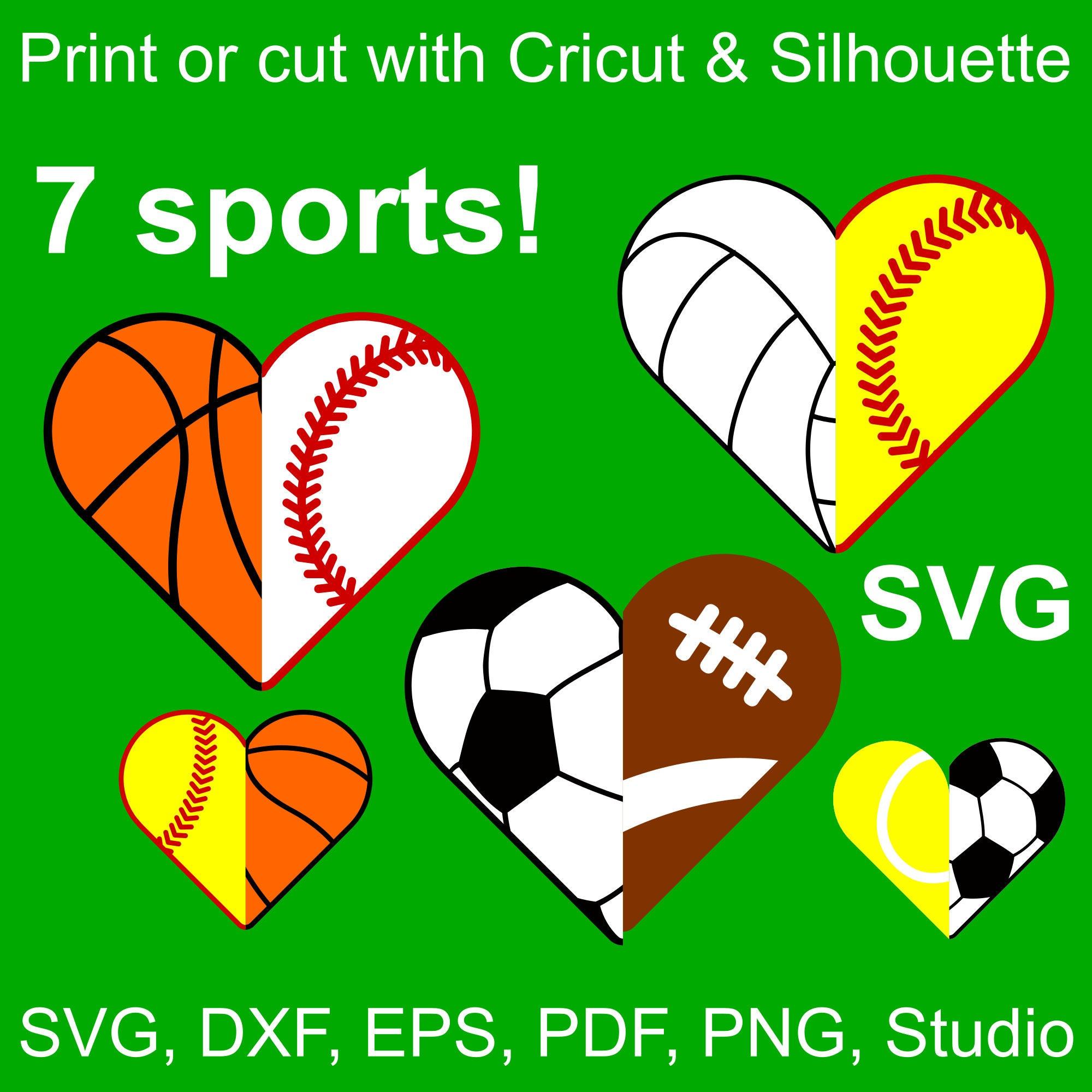 7 Sports Half Hearts SVG Files For Cricut & Silhouette, 14