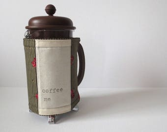 Cafetiere Warmer - French Press Coffee Maker Cosy Gift; Handmade Green Red Rose Cotton Cozy Cover Present w/ Button & Elastic by Proxy Goods