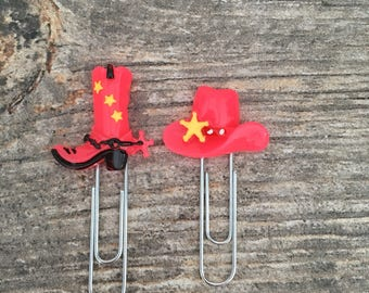 Cowboy boot & hat Paperclip, Planner Clip, Bookmark, Planner Accessory, cowboy  Charm, Stationary, Accessories, Scrapbook, paper clip