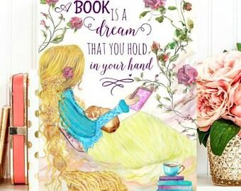 Watercolor girl reading - Tangled - Rapunzel