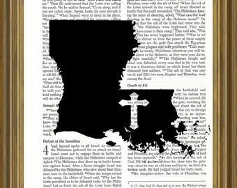 Louisiana silhouette on Bible page