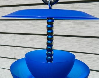 Love this Blue & Silver Bird Feeder