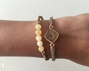 2 bracelets of macramé with entrepieza of Crystal and agate with sliding closing accounts