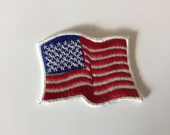 Vintage Embroidered American Flag Patch, Iron On, 1980s, Patriotic Symbol, Red White Blue