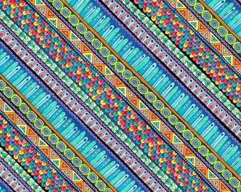 Multi-Diagonal Stripe, Night Bright by Wilmington Prints