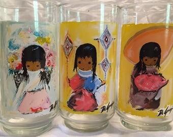 Set of 3 Vintage Ettore Ted DeGrazia Los Ninos Southwestern Print Glass Tumblers