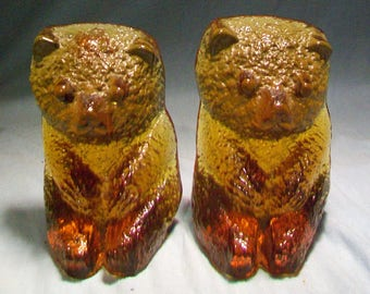 Blenko Amber Bear Bookends