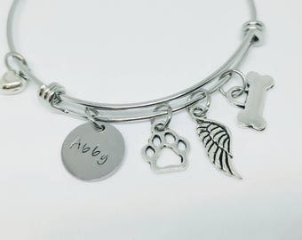 Pet memorial jewelry - dog bracelet - dog memorial - pet loss gift - pet sympathy gift - dog remembrance gift - dog bangle