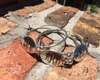 Monogram wire-wrapped bangle