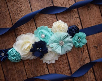 Maternity sash belt,Navy aqua Ivory Sash , sash, flower Belt, maternity sash, baby shower gift