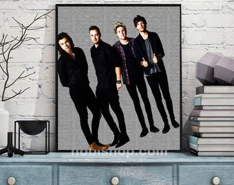 One Direction poster, One Direction, Rock, Wall art, Pop, liam payne, harry styles, louis tomlinson, Music poster, gift, print, niall horan
