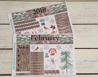 February Monthly Kit Happy Planner, Winter, Snow, Outdoor