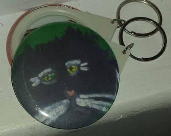 ALFRED Melancholy Cat Original Handmade Pocket Mirror