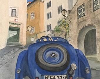Watercolor Wood Panel Art Blue  1936 BMW 328