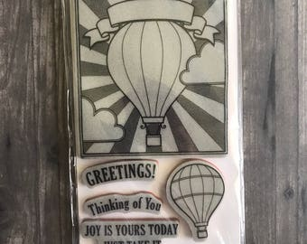 Hot Air Balloon Rubber Cling Stamp Set