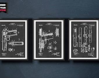 Gun Patent Prints | Pistol Patent Print | 1911 Pistol Design - Weapon - Firearm Instant Digital Download | Gift for Him | Set of 3