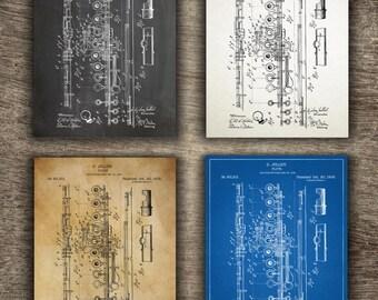 Flute Patent Print, Flute Print, Flute Poster, Flute Gift, Flute Blueprint, Musician Instrument Print, Flute Patent INSTANT DOWNLOAD