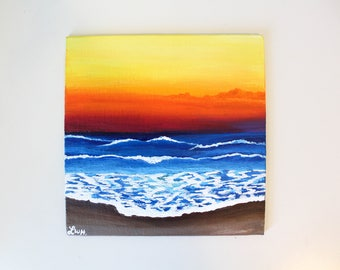 Beach at Sunset Acrylic Painting