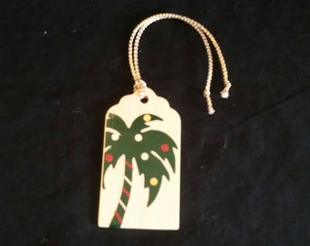 kitchy palm tree christmas wood gift tag set of 5 clearance - Palm Tree Christmas