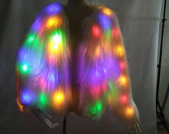 The Most AMAZING LED Fur, light up fluffy rainbow festival coat!