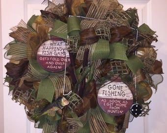Fishing Wreath,Gone Fishing,Fishing Door Hanger,Wreath,Everyday Wreath,Front Door Wreath,Outdoor Wreath,Front Door Sign,Wreaths,Home Decor