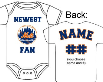 New york mets baby etsy newest new york mets fan custom made personalized baseball gerber onesie jersey optional socks hat negle Images